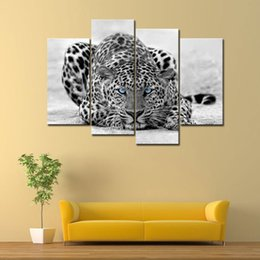 Wholesale Tiger Canvas Wall Art - Black and White 4 Panel Wall Art Painting Blue Eyed Tiger Prints On Canvas The Picture Pictures For Home Modern Decoration Unframed