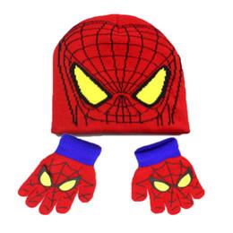 Wholesale Bobble Free - Unisex Spider-Man Knit Bobbles Beanies Hat Set Child Kids Bear Design Caps And Gloves Warm 2 Pieces Set Free Shipping