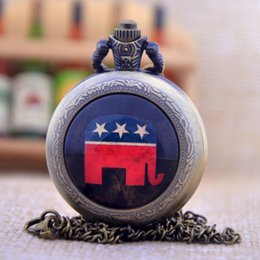 Wholesale Stainless Steel Elephant Antique - New Arrivals Republican National Committee Symbolic Animal Elephant Quartz Pocket Watch Pendant Necklace Mens Womens Watch Gift P454