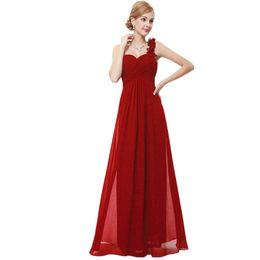 Wholesale Black Dress Shoulder Pads - Red Green Purple Long Bridesmaid Dresses Flowers One Shoulder Chiffon Padded 2016