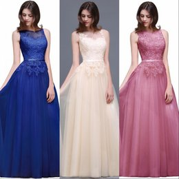 Wholesale Dusty Pink Dresses - 2017 Hot Dusty Pink Tulle Prom Dresses Sheer Neck Sleeveless Lace Appliqued Illusion Back A Line Evening Gowns Cheap Party Dresses CPS494