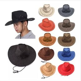 Wholesale Cowgirl Hats Wholesale - Western Cowboy Hats Men Brim Caps Retro Sun Visor Knight Hat Unisex Cowgirl Brim Hats Mongolia Prairie Summer Outdoor Tourism Headwear B2863