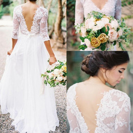 Wholesale White Lace Beach Wrap Long - 2017 Bohemian Wedding Dresses Lace 3 4 Long Sleeves V-neck Low Back A-line Chiffon Plus Size Summer Beach Country Bridal Wedding Gown