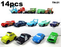 Wholesale Mack Trucks Toys - 14pcs set Pixar Cars Lightning McQueen mater Sally Action Figure doll and DIECAST FIGURE MACK SUPER-LINER TRUCK #95 21cm play Toy Kids Gift