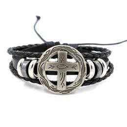 Wholesale Cheap Cross Charms - Fashion Jewelry Charm Bracelets for Men Cross Rivets Leather Bracelet Cheap Braided Leather Bracelet Gift for Boy Infinity Bracelet