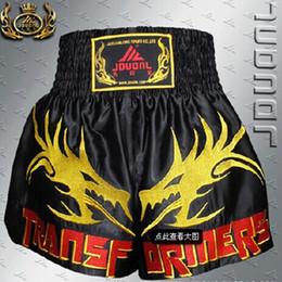 Wholesale Embroidered Training Pants - Wholesale-2016 Muay Thai Boxing Shorts MMA Shorts Embroidered Dragon Sanda Muay Thai Boxing Pants Embroidered Dragon Training Trunks