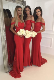 Wholesale Wholesale Sequin Ruffle Dress - 2018 Red Off Shoulder Long Bridesmaid Dresses With Applique Mermaid Dresses For Wedding Back Zipper Custom Made Sweep Train Bridesmaid Gowns
