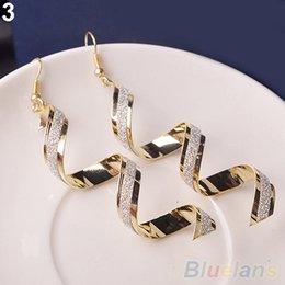 Wholesale Retro Dangles - Women Retro Style Fashion Rhinestone Crystal Twist Spiral Eardrops Long Drop Dangle Hook Earrings Jewely Elegant Design 88WS