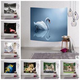 Wholesale animal print mat - 23 Designs 153*102cm Digital Printed Animal Beach Towel Rectangle Hanging Wall Decor Towel Tapestry Soft Flamingo Yoga Mat CCA7243 20pcs