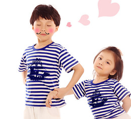 Wholesale Clothes For Father Son - Family Matching summer 2016 short-sleeve navy striped T-shirt matching family clothing set for mother daughter&father son