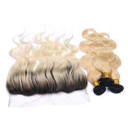 Wholesale cheap two tone blonde hair - cheap sale full lace frontal closure 13x4 with 1b 613 blonde dark root ombre body wave two tone virgin human hair bundles