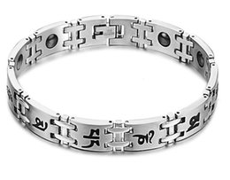 Wholesale Men Bracelet Korea - Newest Men Korea Titanium steel bracelet with healthy black gallstone Titanium Steel Bracelets Chain Free Shipping