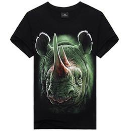 Rhino 3d online-T-shirt da uomo estiva 2016 Hot 3D Rhino Animal Print in cotone a maniche corte