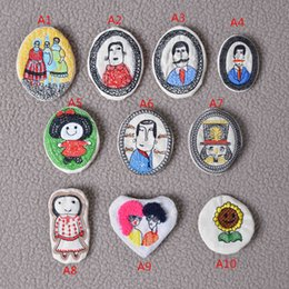 Wholesale Cheap Clothes Fabric - embroidery cartoon badge brooch pins handmade Fabric Boutonniere clip on Clothes & Bag, Kids, Boys, Girls, Men Accessories Price Cheap