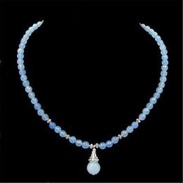 Wholesale Gold Aquamarine Pendant - Vintage Classic Laboratory-created Stone Jewelry Fantasy Noble Gorgeous Light Blue Aquamarines Beaded Necklace with Pendant 45cm