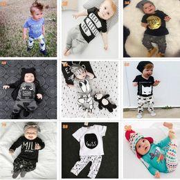 Wholesale Fox Pajamas - 22 Styles Baby INS fox stripe letter Suits Kids Toddler Infant Casual T-shirt +trousers 2pcs sets pajamas newborn clothes