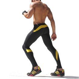 Wholesale Jogger Pants Wholesale - Wholesale-Mens Compression Pants sweatpants Slim Tights Splicing Fashion Pants bodybuilding Men Joggers Skinny Leggings Trousers
