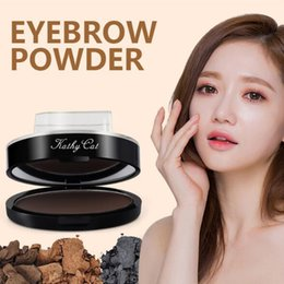 Wholesale Eyebrow Powder Stencil - kathy cat eyebrow powder Stamp Seal Waterproof Grey Brown Eye Brow Powder with Eyebrow Stencils Brush Tools