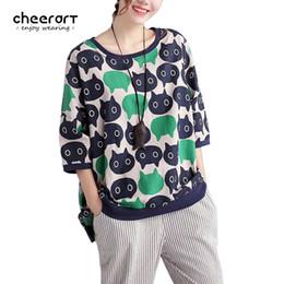 Wholesale Wholesale Linen Clothing Women - Wholesale- Cheerart Plus Size T Shirt Women Loose Cartoon Pattern Print Linen Cotton Korean Fashion Tops Autumn Tee Shirt Femme Clothing