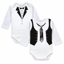 Wholesale Popular Baby Clothing - 2 PCS LOT Baby Gentleman Pattern Badysuit Boys Long Sleeves Clothing Sets Popular European Style Newborn Bebe Cotton Rompers