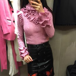 Wholesale Pink Ruffle Sweater - elegant 2017 autumn fashion women's pullover luxury brand designer sweaters runway clothing stringy selvedge women's jumper pink