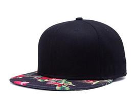 Wholesale Accessories Hats Men - Flower Print Flat Brim Snapback Caps Fasion Accessories Black Color Hip Hop Hats For Women&Men Outdoor UV Protect DHL Free