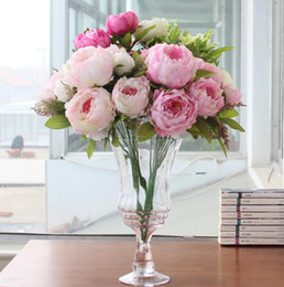 Wholesale Wedding Decorations Make - peony beautiful flower home decoration Hand Made Artificial Peony Bunch Flowers Bridal Accessories Garden Bulk Runners 7 flower peony heads