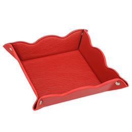 LISRSC Bandeja de almacenamiento de cuero Multifuncional para Hombres Mujeres reloj de la joyería caja de almacenamiento dominante de la moneda del teléfono, bandejas de la joyería (rojo) DK001 desde fabricantes