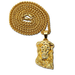 Wholesale Cheap Stainless Steel Chains Men - Fashion Men Small Jesus Necklaces Jewelry Punk Rock Micro Hip Hop Mens Filling Pieces 18K Gold Plated Chains Pendant Cheap Necklaces