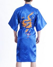 Wholesale Chinese Silk Pajama - Wholesale-Vintage Blue Chinese Men's Silk Satin Robe Handmade Embroidery Dragon Nightgown Kimono Bath Gown Pajama Size S M L XL XXL