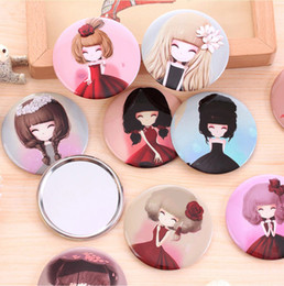 Wholesale Small Hand Mirrors - 150 styles girl mini pocket makeup mirror cosmetic compact mirrors Small Cute Cartoon Pocket Hand Makeup Mirror BY DHL