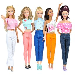 Wholesale Girls E Clothing - E-TING Hot Sale 1 6 Doll Clothes Fashion Casual Wear 5 Tops 5 Pants Handmade Blouse Girls Suit For Barbie Accessories Toys Gift