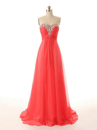 Wholesale Fast Shipping Bridesmaid Dresses - Beaded Crystal Sweetheart Long Chiffon Bridesmaid Dress 2018 Pleated Wedding Party Dress Lace Up Fast Shipping
