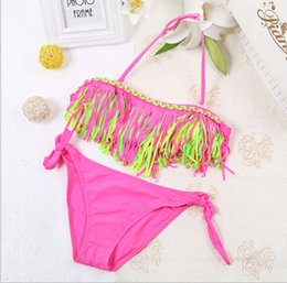 Wholesale Wholesale Bathing Suits For Kids - 2016 Summer Girls Two Piece Fringe Swimwear Triangle Halter Neck Swimsuit For Teenagers little kids bikini Children In Bathing Suits Bikini