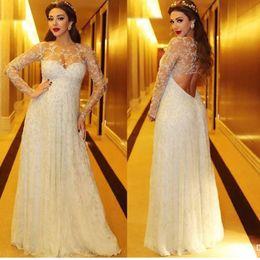 Wholesale V Neck Button Up - Hot Sale Saudic Arabic Mariam Fares 2016 Celebrity Dresses Illusion Necklines Lace Sexy Back Prom Dresses