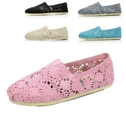 Wholesale Crochet Lace Shoes - Foreign trade adicolo Lace Crochet canvas shoes happy Marie shallow mouth flat shoes slip-on wholesale manufacturer