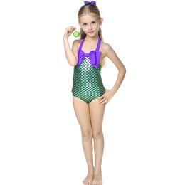 Wholesale Little Girl Bikini Swimsuit - 2016 New Children Girls Little Mermaid Bikini Suit Swimming Costume Swimsuit Swimwear with cute headband 2-7years