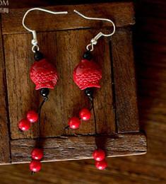 Joyería azul campana online-Moda rica Little Fish Coral / Shell / Azul China Campanas de cobre / Silk Thread Bolas colgantes Charm Earrings Joyería Cumpleaños / Regalos de boda