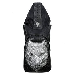 Wholesale Patchwork Owl Bags - New Fashion 17925004 Personality 3D PU wolf leather Patchwork backpack rivets owl backpack with Hood cap apparel bag cross bags hip hop man