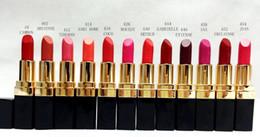 Wholesale Lipstick Colours - New Makeup Rouge Ultra Hydrating Lip Colour Matte Lipstick Lettering Logo Lipstick Have 12 Different Colors 3.5g