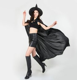 Wholesale Halloween Black Witch Hat - New Halloween Cosplay Party Witches Gothic Beauties With Hat Suit Woman Pattern Costume Halloween Scare Performance Clothes Wear Suit