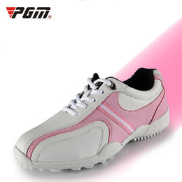 Wholesale Nail Shoes Running - 2016 Promotion Real Breathable Massage Women Rubber PGM Golf Shoes Female Models Sport Shoe Soles Fixed Nail Waterproof Sports 35-39