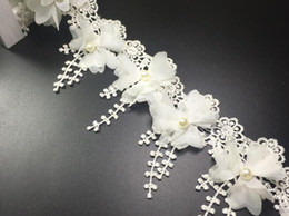 Wholesale White Lace Trim Fabric - 15 Yard White Pearl bead Flower chiffion Lace Fabric Trim Ribbon For Apparel Sewing DIY Doll Cap Hair clip
