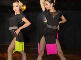 Wholesale Samba Dancing Clothes - Sexy black gauze dress stitching on the Sasa Samba dance latin ballroom Rumba costume competition clothing skirt tassel Latin clothes