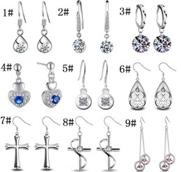 gemstone crosses wholesale Coupons - New 925 Silver Crystal Earrings for Woman Gemstone Crystal Cute Monkey face Cross Long Earring Valentine Gift Korean Fashion Jewelry