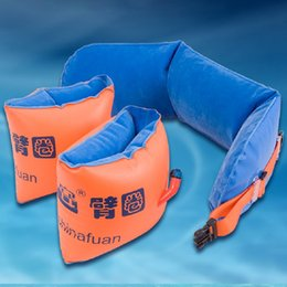 Wholesale Life Float Ring - Wholesale- Life saving Bags Inflatable Swimming Ring and Belts Double Air Bags Swim Floats Equipment Swimming Learning for Adults and Kids