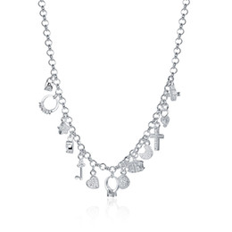 Wholesale Locking Rings Necklace - Wholesale 925 Fashion Jewelry Necklace Lock Key Cross Star Heart Bead Square Ring Moon 13 Charms Necklace & Pendants Women Girl Accessories
