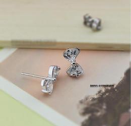 Wholesale Diamond Bow Studs - Cute Bow Diamond Earrings 925 sterling silver Zircon Earrings Europe for Women Wedding jewelry Factory price sales Elegant Not fade Gift box