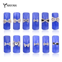 Wholesale Nail Art Bow Ties - Wholesale- 10pcs New 3d Clear Alloy Rhinestone Bow Tie Nail Art Decoration DIY Charm Nail Jewelry Accessories