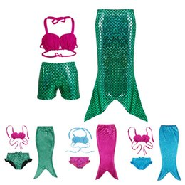 Wholesale Toddler Mermaid Swimsuit - Newest Girls Kids Mermaid tail Swimsuit Children Baby High Quality Swimwear Sets Toddler Infant Beachwear 3pcs Hot Sale